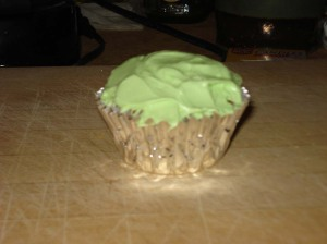 Cupcake, lime green, silver.