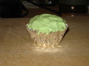 Cupcake, lime green, silver.