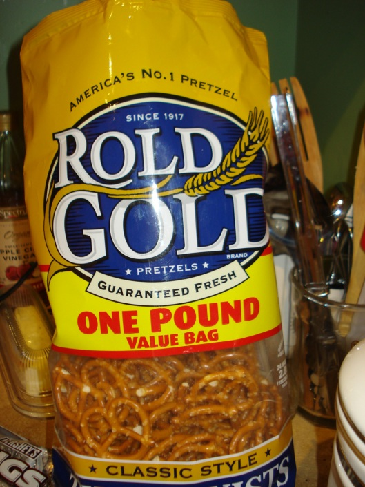 Roundish pretzels - holiday shaped ones are also good - don't use sticks or rods
