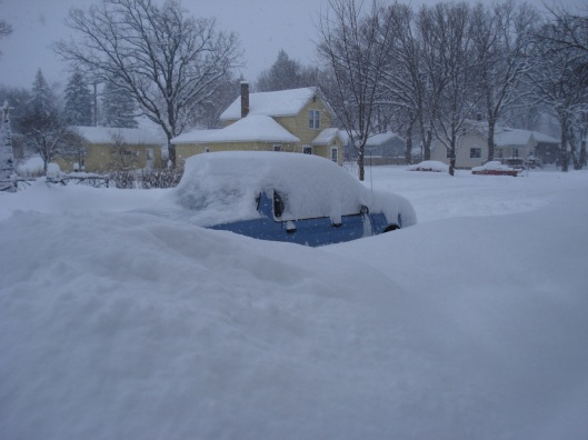 One of the cars, buried
