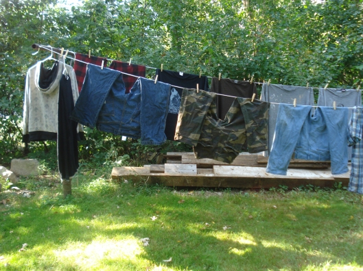 Clothes hanging on the line.