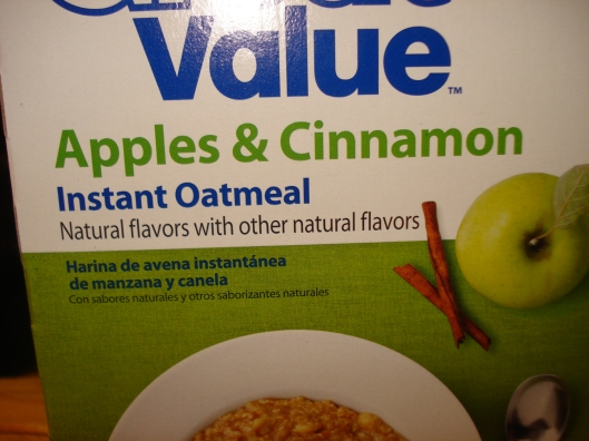 "Read the line directly under ""Instant Oatmeal."""