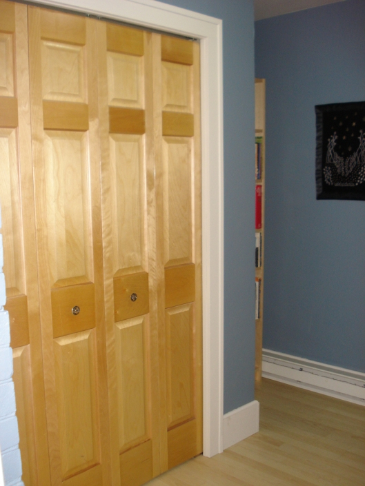 "The closet doors also ""pop"" against the blue-gray because of their yellowish tone."