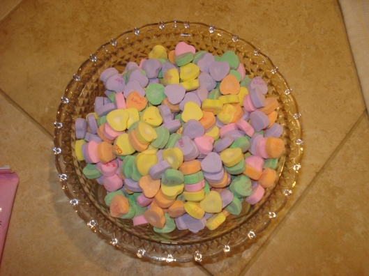 Candy dish full of Sweethearts, January 24, 2010