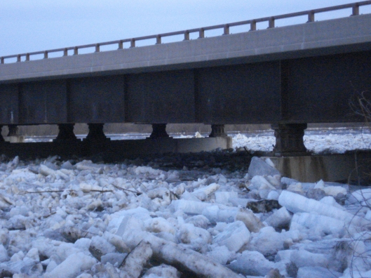 Ice jam by the Highway 10 bridge, March 17, 2010.