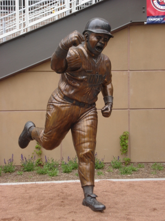 Kirby Puckett statue at Target Field. He looks like he's going to punch someone. May 6, 2010.