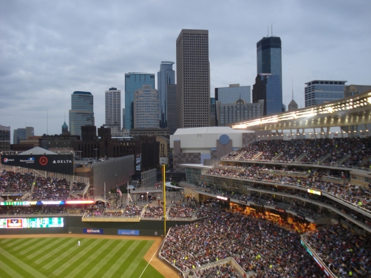 The view of the Minneapolis skyline from Target Field, May 6, 2010.