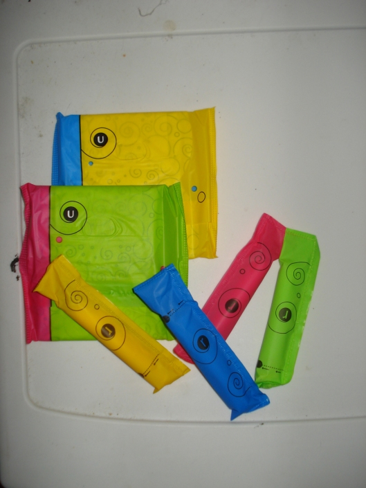Newly designed wrappers for Kotex pads & tampons, July 10, 2010