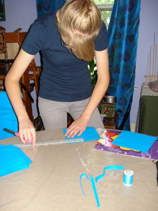 Daughter working on the special quilt squares, August 28, 2010.