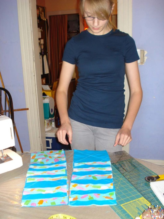 Laying out the quilt squares, Aug. 28, 2010.