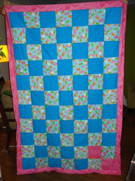 Back of Daughter's quilt. Note the two pink squares, which are backing the special squares on the front. Aug. 28, 2010