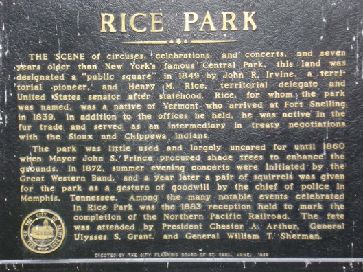 Rice Park sign, St. Paul, MN, September 15, 2010.