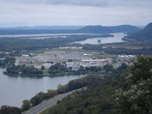 A view of Winona, MN, from Garvin Heights Overlook. Notice all the water. Sept. 16, 2010.