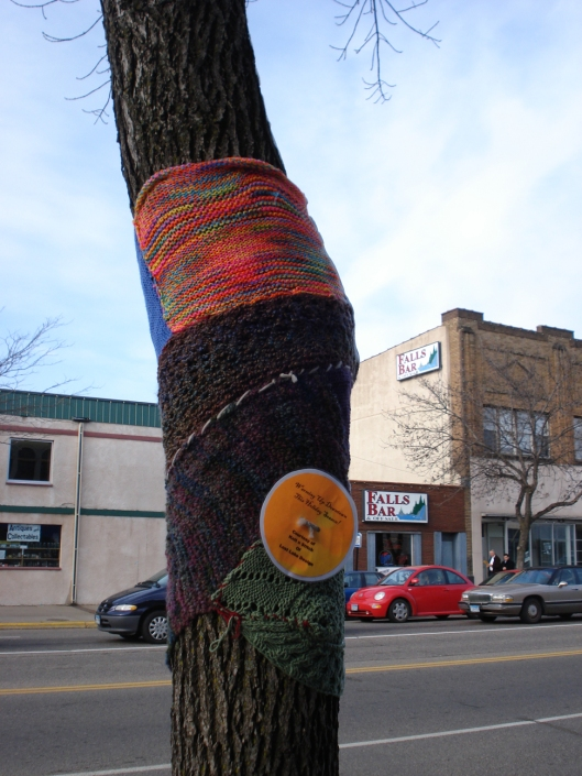 Knitting Bomb 2, Little Falls, MN, November 15, 2010.