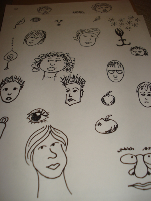 Face drawings by Mary Warner, December 2010. The big face near the bottom reminds me of comedian Demetri Martin.