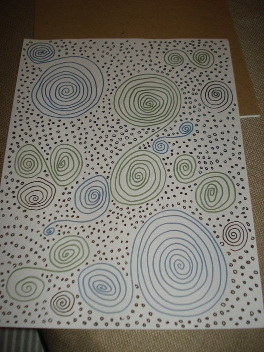 "A drawing to woggle the eyes - Spirals and Small Irregular Circles by Mary Warner, December 2010. I drew this after reading Lynda Barry's book ""Picture This,"" in which one of the drawing assignments is to draw spirals and another is to draw small, regular shapes or lines."