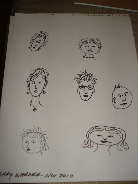 Face drawings by Mary Warner, November 2010. These faces are earlier attempts than the ones above. The bottom left face was drawn with an ultra fine Sharpie. I don't like how it turned out. There are others I don't like within these pages, but with this one, it's specifically the fine line that I don't care for.