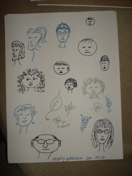 Face drawings by Mary Warner, December 2010. The blue and green drawings are not done with Sharpies, but with Rose Art Color Sharp Metallic markers, which have the same kind of tip as regular Sharpies.