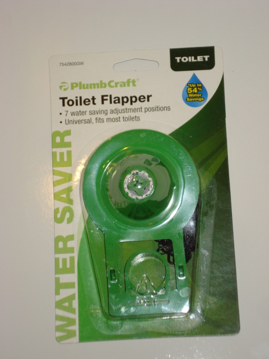New green toilet flapper, December 2010