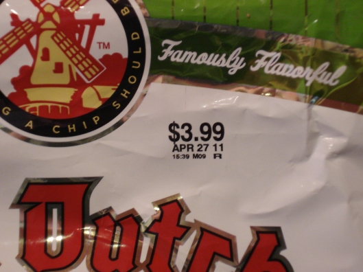 Expiration date on Old Dutch dill pickle chips - April 27, 2011. Pic taken March 5, 2011.