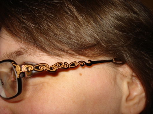 Check out the bow detail on my new glasses. I love this! Hubby says this is so me.April 10, 2011.