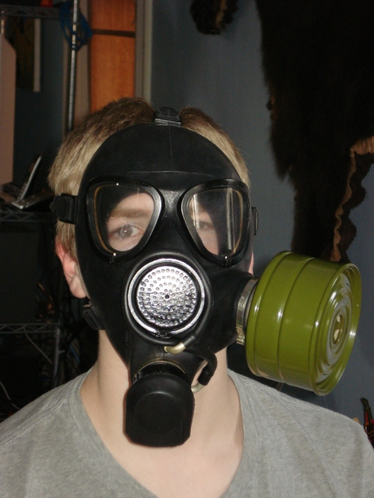 Young Son in gas mask from Lithuania, May 2011