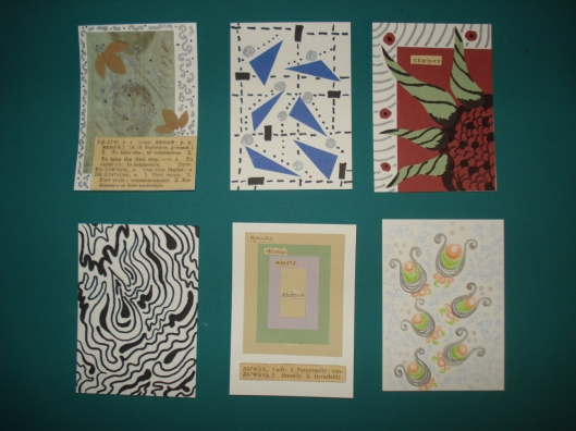 Artist trading cards by Mary Warner, May 2011.