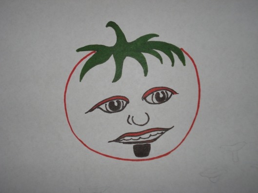 First draft, tomato with soul patch, June 27, 2011.