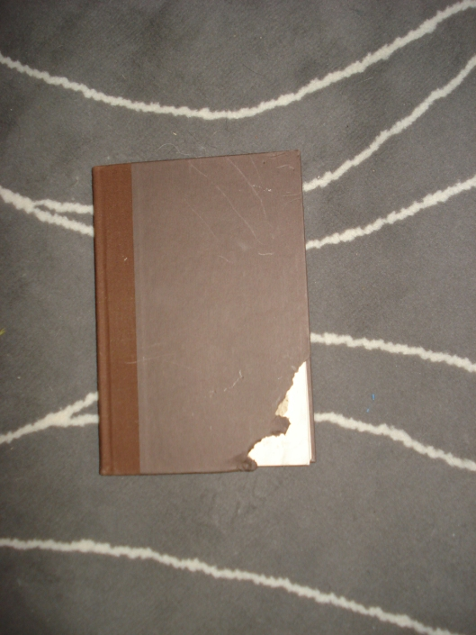 This cookbook has had its corner eaten by Doggle Woggle. It is a cookbook with chocolate recipes. Doesn't Doggle know that chocolate is not good for him? July 2011.