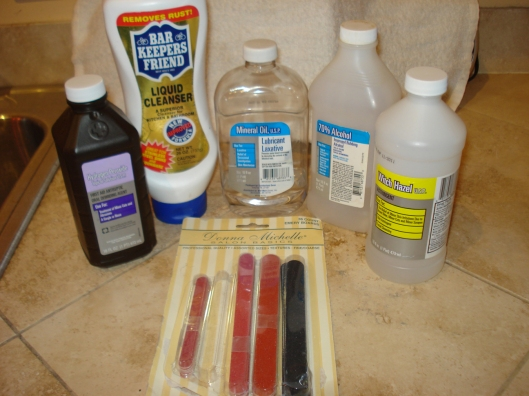 Hydrogen peroxide, Bar Keeper's Friend, mineral oil, rubbing alcohol, witch hazel, & Donna Michelle's emery boards, July 2011.