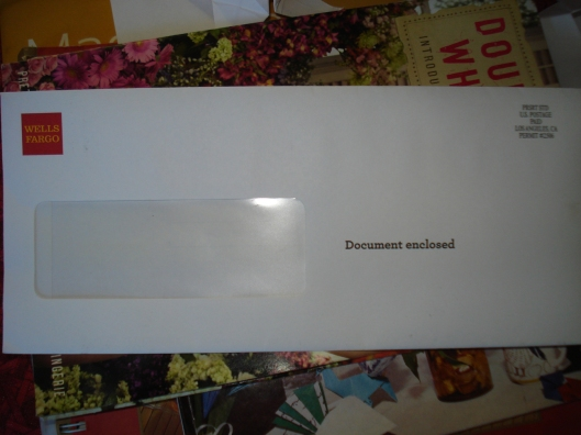 "Wells Fargo envelope - ""Document enclosed,"" 2011"