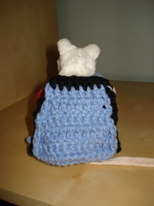 Back view of crocheted coat by Mary Warner for IKEA mouse, August 15, 2011.