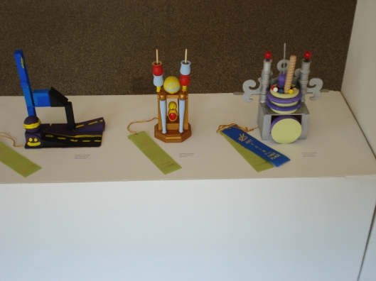 Three-dimensional art from the Boys & Girls Clubs of Morrison County exhibit, GRAA, August 26, 2011.