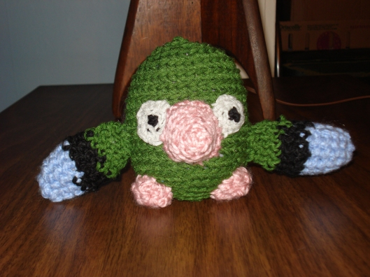 Amigurumi parrot made by Mary Warner, October 2011.