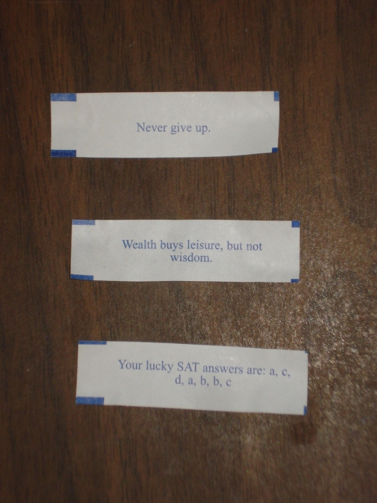 Three fortunes from fortune cookies, November 2011.