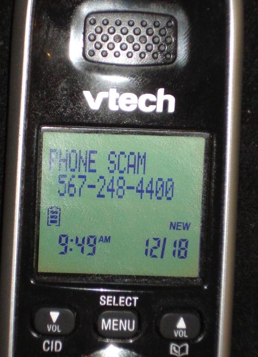 "Caller I.D. - ""Phone Scam"" - December 18, 2011"