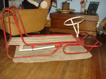 Fox sled in its horizontal (and proper!) position