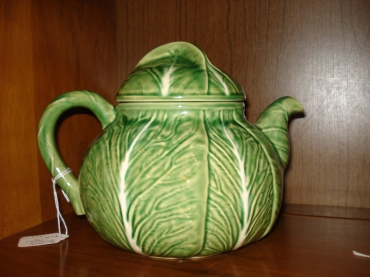 Bordallo Pinheiro Cabbage Leaf Teapot in the Cooler at Rural Origins Antiques, October 2011.