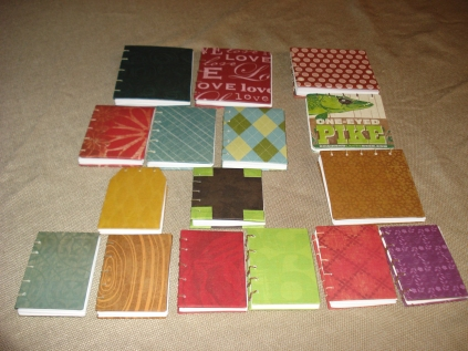 Handmade gift books in some kind of order by Mary Warner, 2011