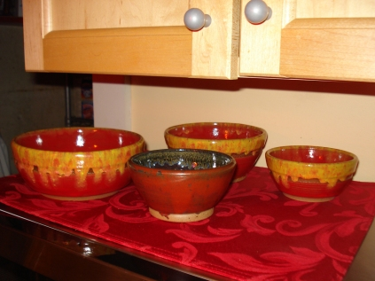 Handmade bowls by J. Warner, 2011