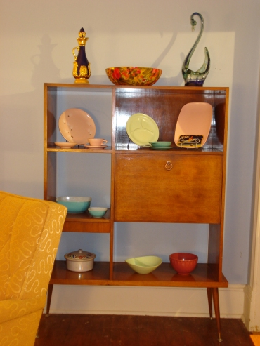 Handmade mid-century shelf with melamine collection (and a few other non-melamine things).