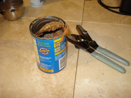 Evidence of a lousy can opener ... a poorly opened can that's ready to cut you like cattle.