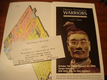 Terracotta Warriors ticket stub and MIA brochure, January 5, 2013