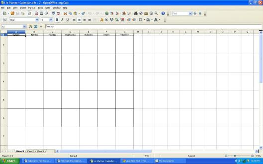 Screen shot of monthly calendar designed in OpenOffice Calc.