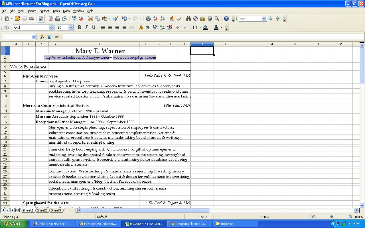Designing a Resume Using Spreadsheets