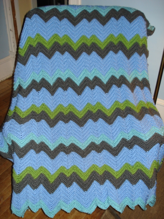 Zig-zag afghan by Mary Warner, 2014.